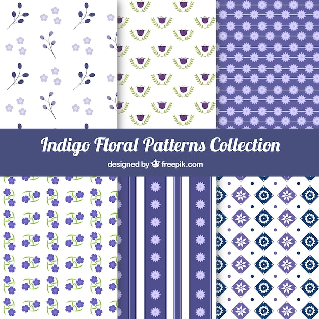 Beautiful collection of floral patterns Free Vector