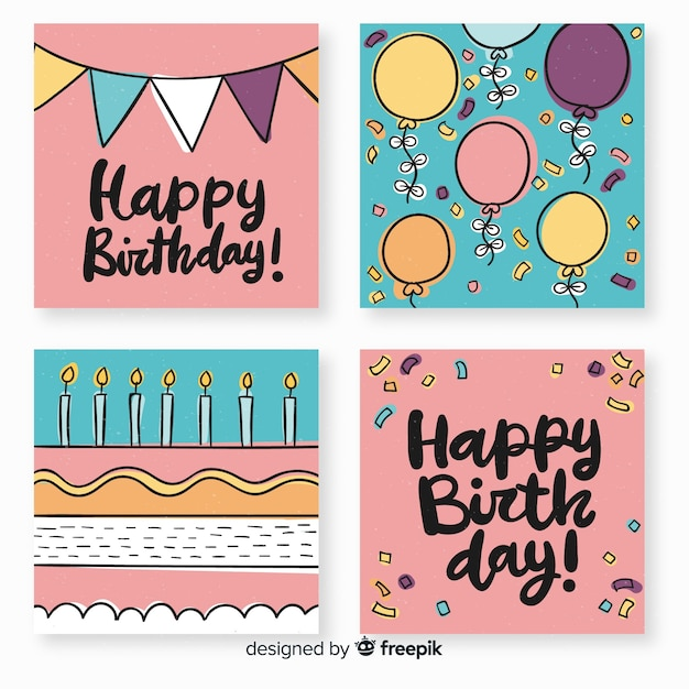 Beautiful collection of hand drawn birthday cards Free Vector