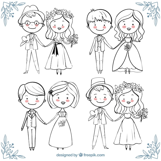 Beautiful collection of happy wedding couples in hand-drawn style Free Vector