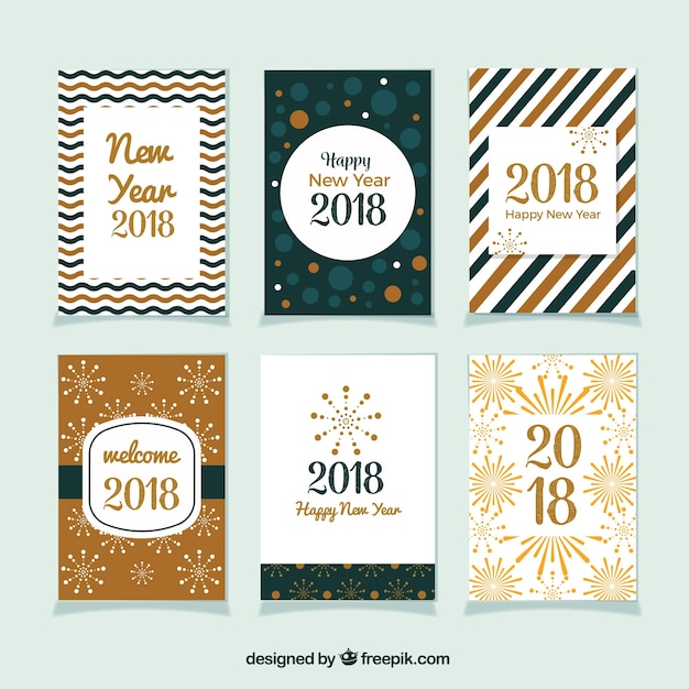 Beautiful collection of new year greeting cards