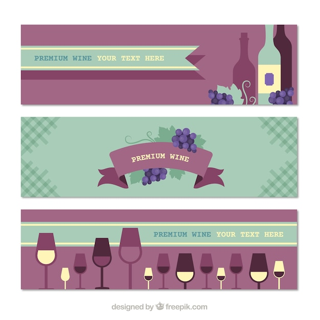 Beautiful collection of wine banners