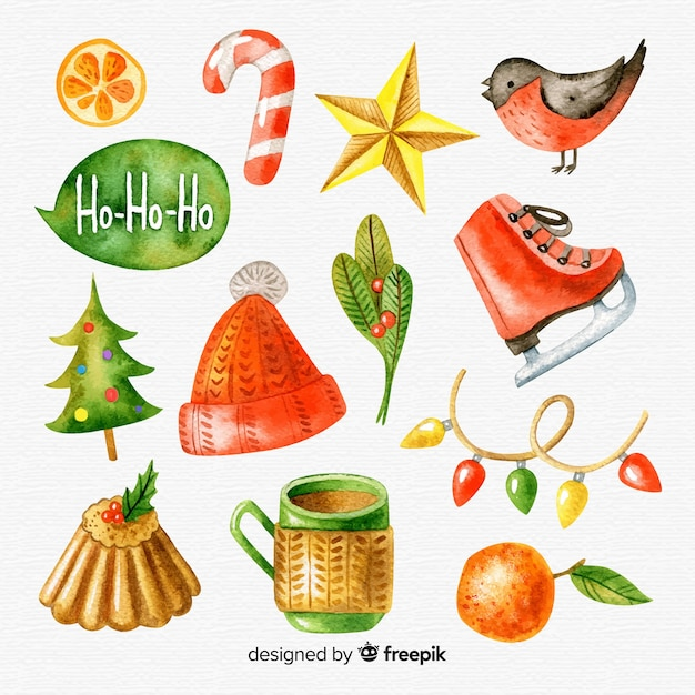 Beautiful collection of watercolor christmas elements Free Vector