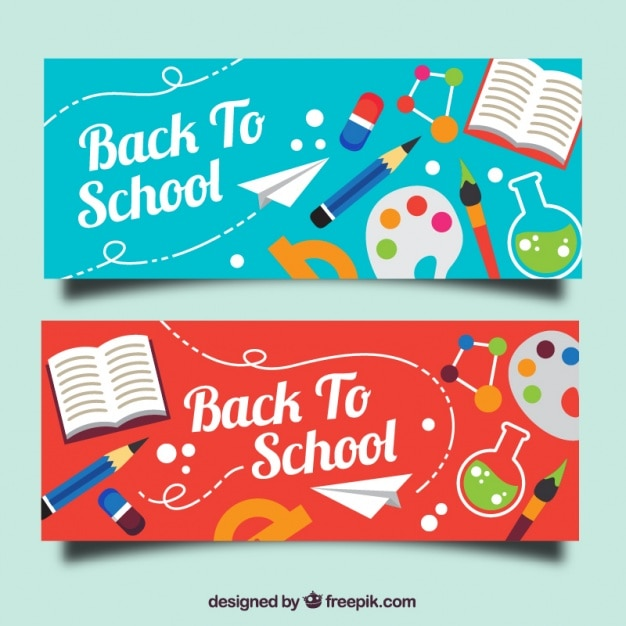 Beautiful colored banners with school objects Free Vector