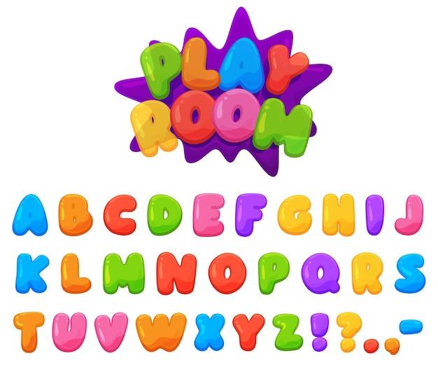 美しい色の陽気な子供用フォント。ぽっちゃり鮮やかな色の文字。 Premiumベクター