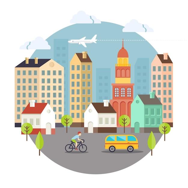 Красивые цветные векторные дизайн улицы города. в основном используется для ноутбуков и карточек Бесплатные векторы