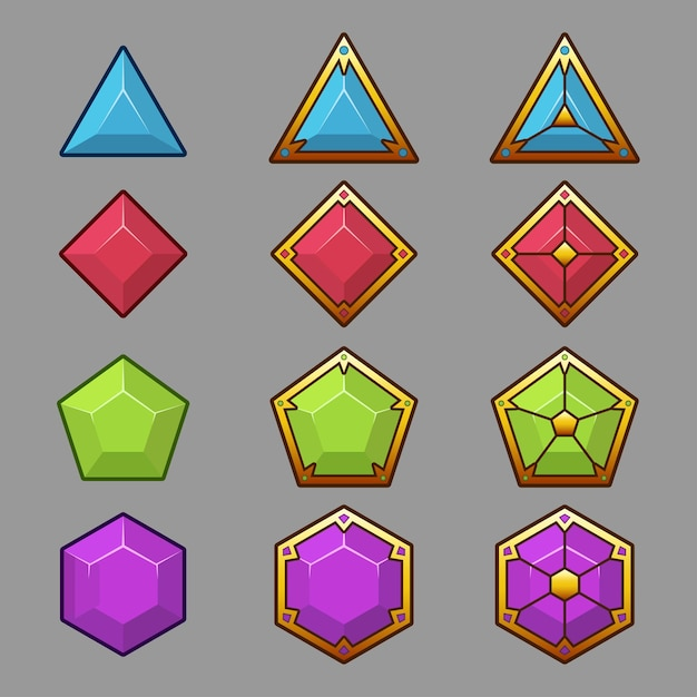 Beautiful colorful buttons with light border. vector assets for game. decorative gui elements, isolated Free Vector