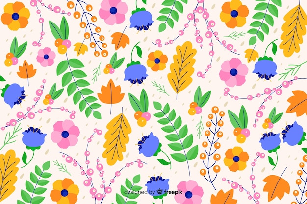 Beautiful colorful decorative floral background Free Vector