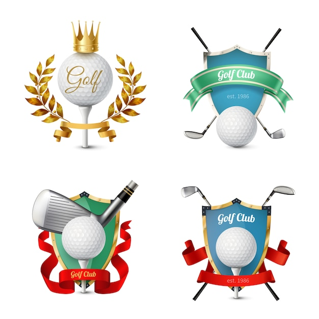 Beautiful colorful emblems of various golf clubs with balls shields ribbons isolated  realistic vector illustrationf Free Vector