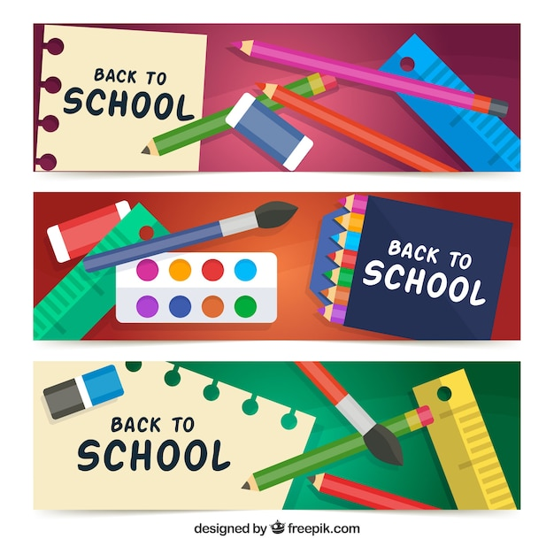 Beautiful colorful flat back to school banners
