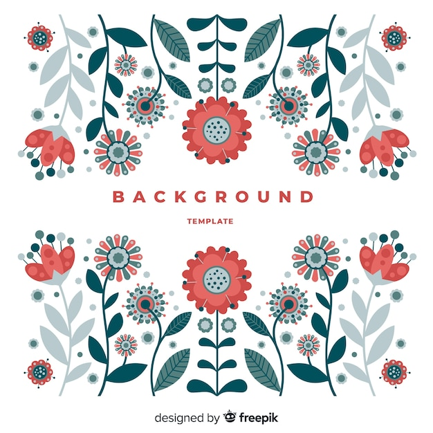 Beautiful colorful floral background composition Free Vector