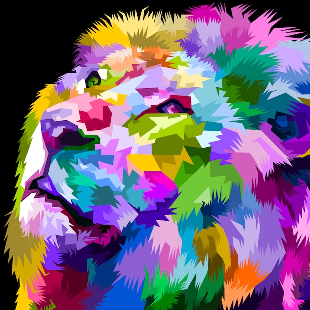 Beautiful colorful lion facing up Premium Vector