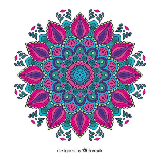 Beautiful and colorful mandala background Free Vector
