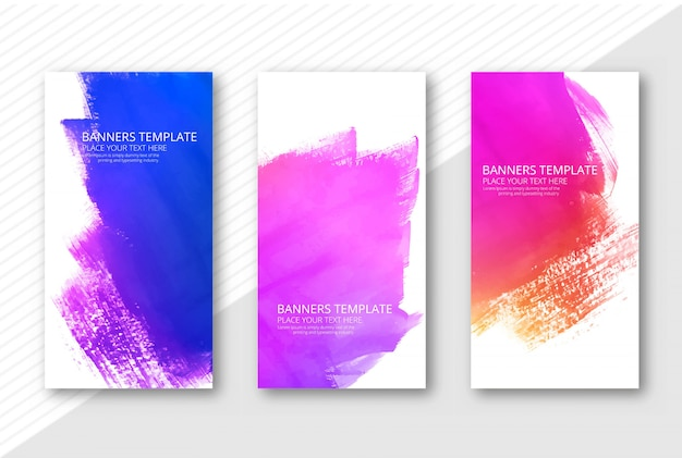 Beautiful colorful watercolor banners set Free Vector