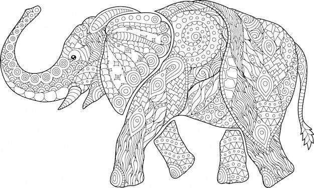 Beautiful coloring book page with cartoon elephant Premium Vector
