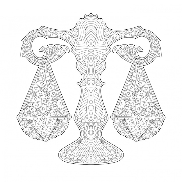 Beautiful coloring book page with stylized scale Premium Vector