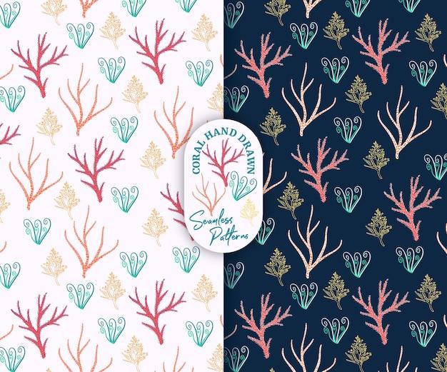 ピンクとネイビーのシームレスなパターンで美しい珊瑚の手描きスタイル Premiumベクター
