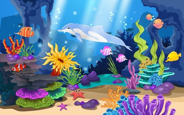 Красивые коралловые рифы и рыба в море Premium векторы