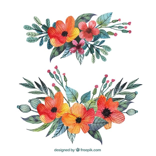 Beautiful corsages in watercolor style Free Vector