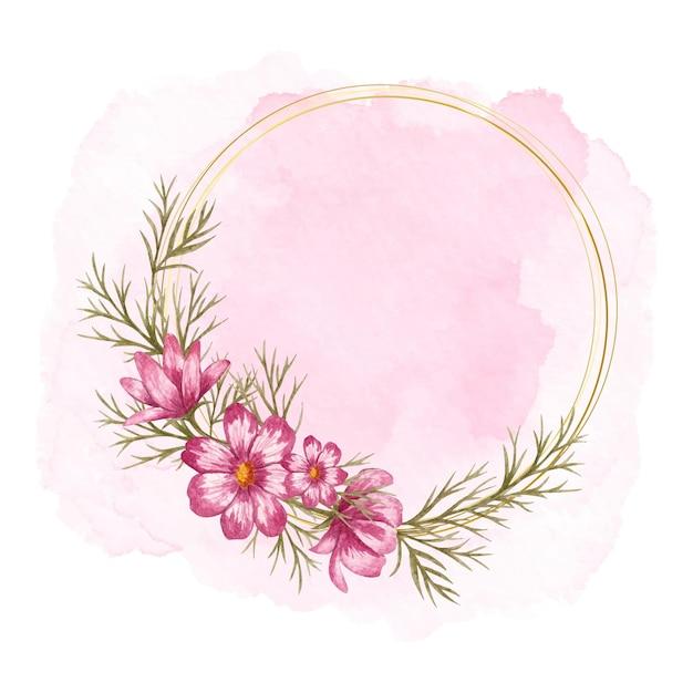 ピンクのスプラッシュと美しいコスモスフラワーフレーム Premiumベクター