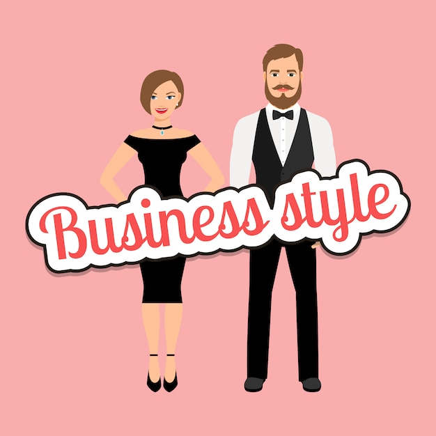 Beautiful couple in business style clothing Premium Vector
