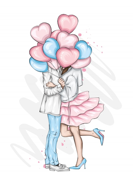Beautiful couple with balloons in the shape of hearts. Premium Vector