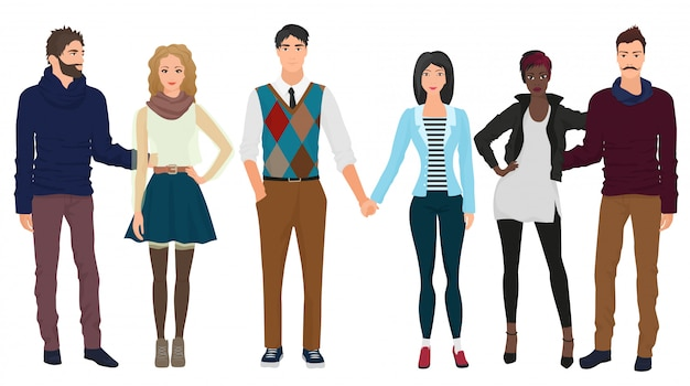 Beautiful couples in stylish casual clothes Premium Vector