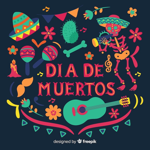 Beautiful and creative día de muertos background Free Vector