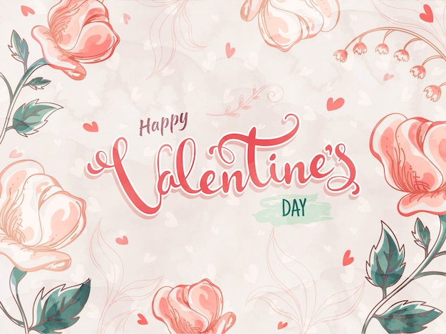 Beautiful creative rose flowers decorated with happy valentine's day font. Premium Vector