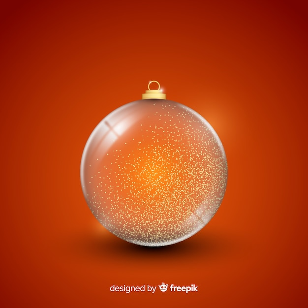 Beautiful crystal christmas ball on simple background Free Vector
