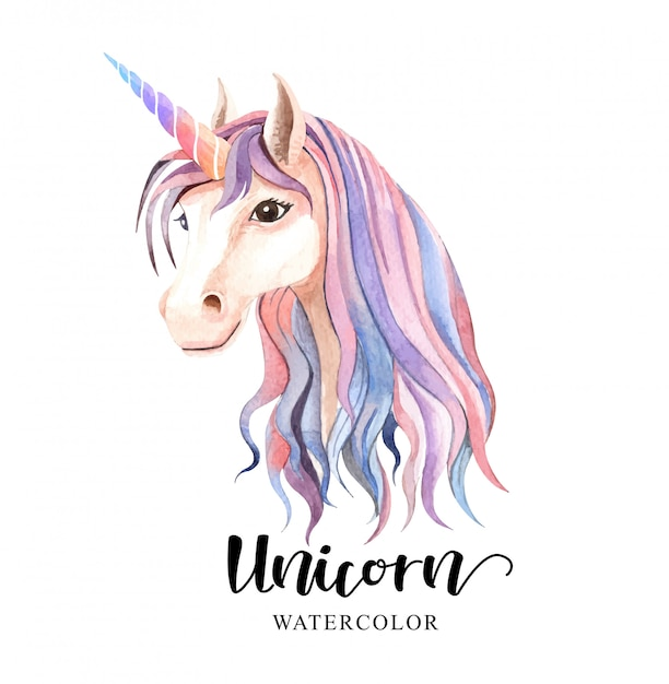 Beautiful cute. watercolor unicorn head Premium Vector