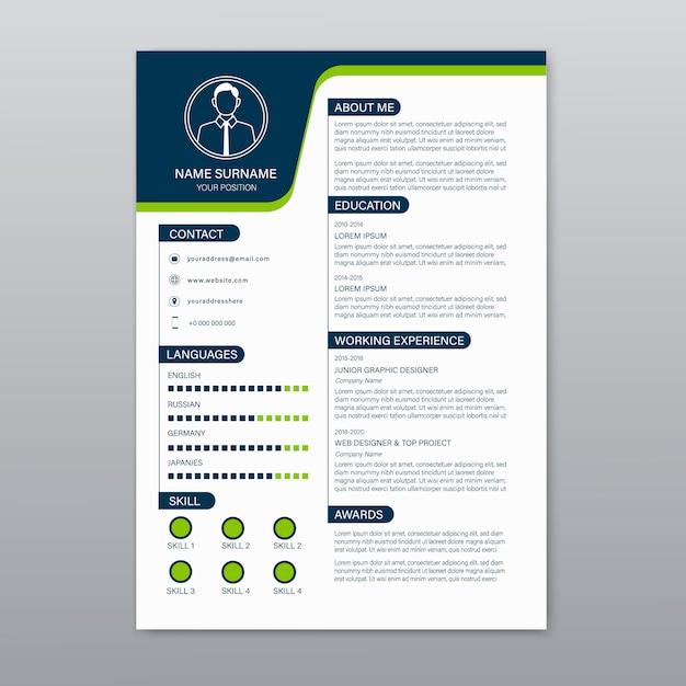 Beautiful cv, resume template Premium Vector
