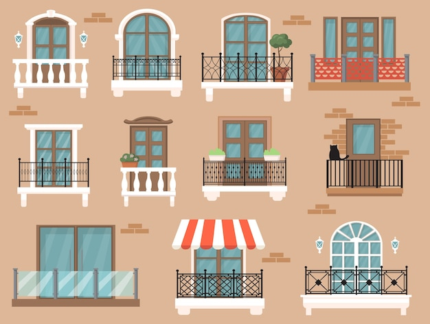 Beautiful decorated balcony flat set for web design. cartoon vintage windows with classic decor and fences isolated vector illustration collection. architecture and facade concept Free Vector