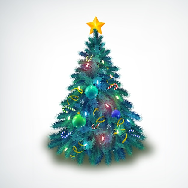 Beautiful decorated with baubles and stars christmas tree on white Free Vector