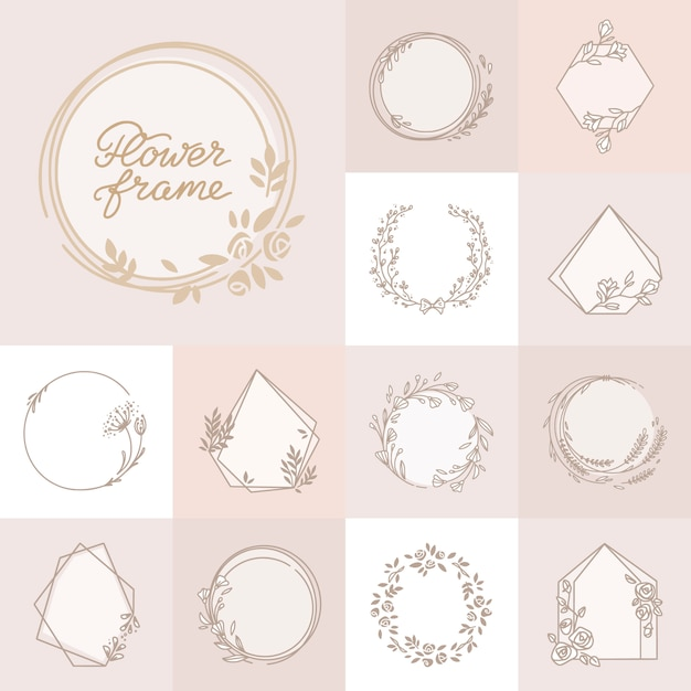 Beautiful decorative floral wreath frame set Premium Vector