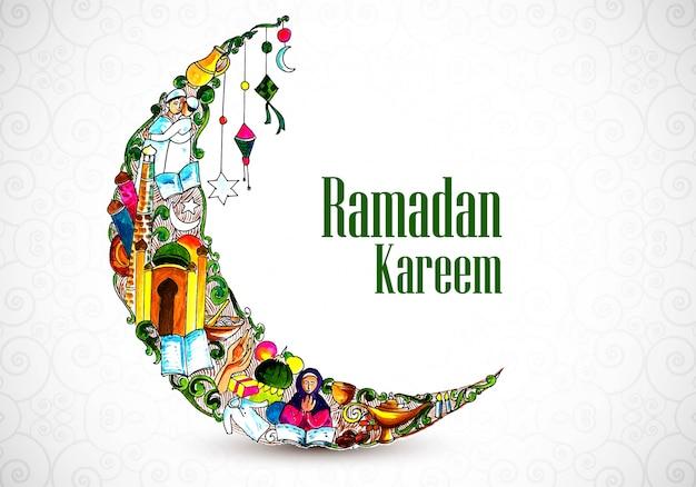 Красивая декоративная луна рамадан карим фон Бесплатные векторы