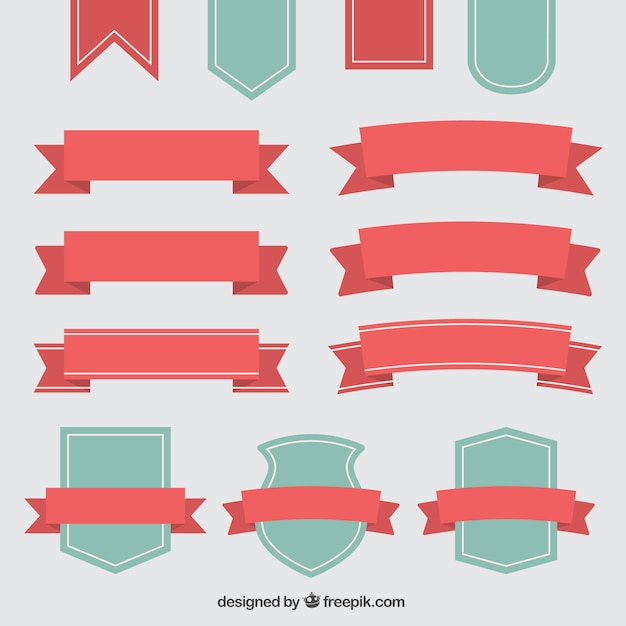 Beautiful decorative vintage ribbons and badges Free Vector