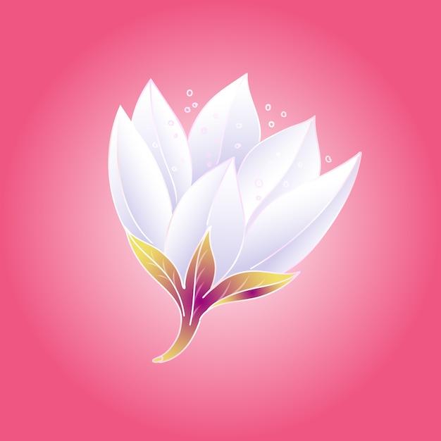 濃いピンク色の背景に白い花びらを持つ美しく、繊細で新鮮な花の蓮のつぼみ。図。 Premiumベクター
