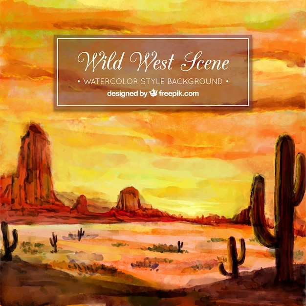 Beautiful desert background in watercolor style Free Vector