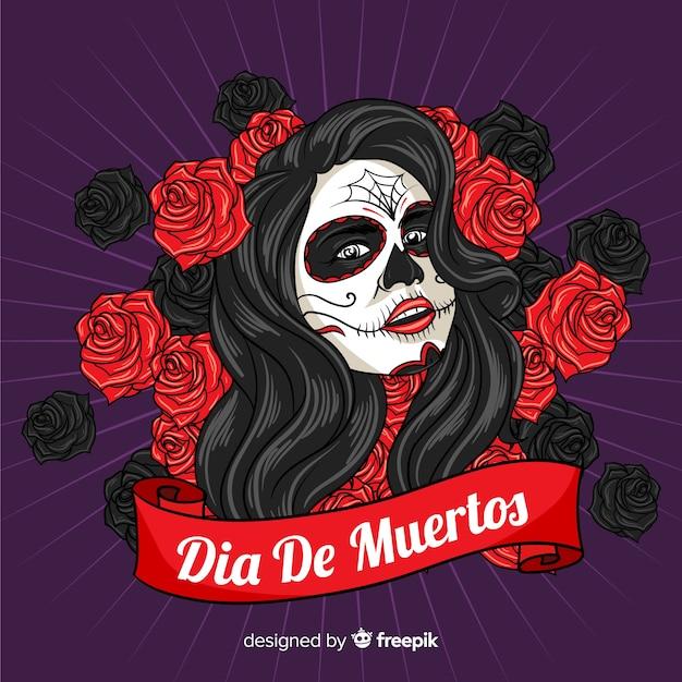 Beautiful dia de muertos skull background Free Vector