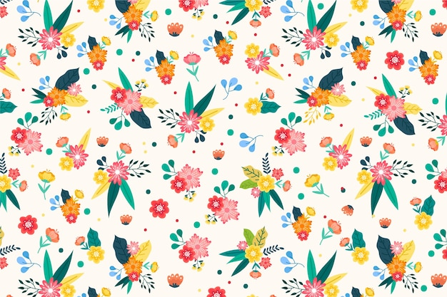 Beautiful ditsy floral background Free Vector