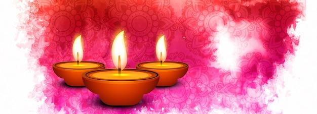 Beautiful diwali diya oil lamp festival header background Free Vector