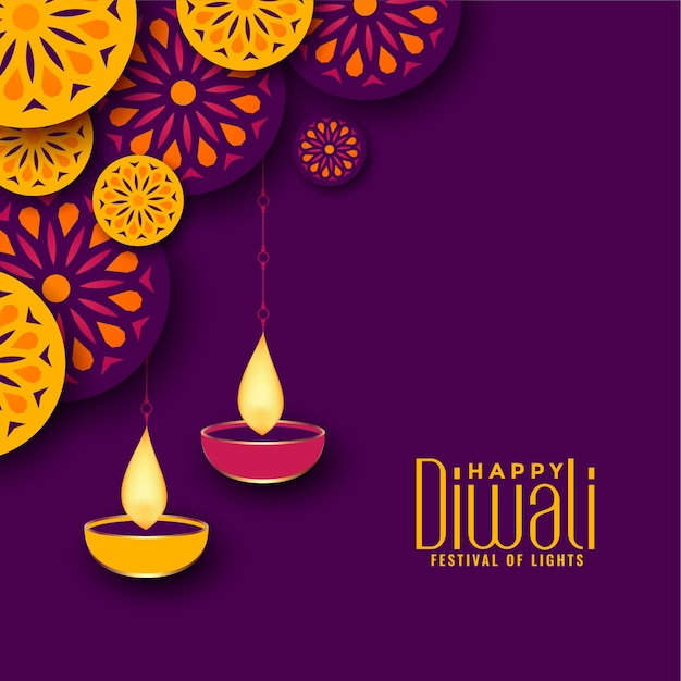 Beautiful diwali festival background Free Vector