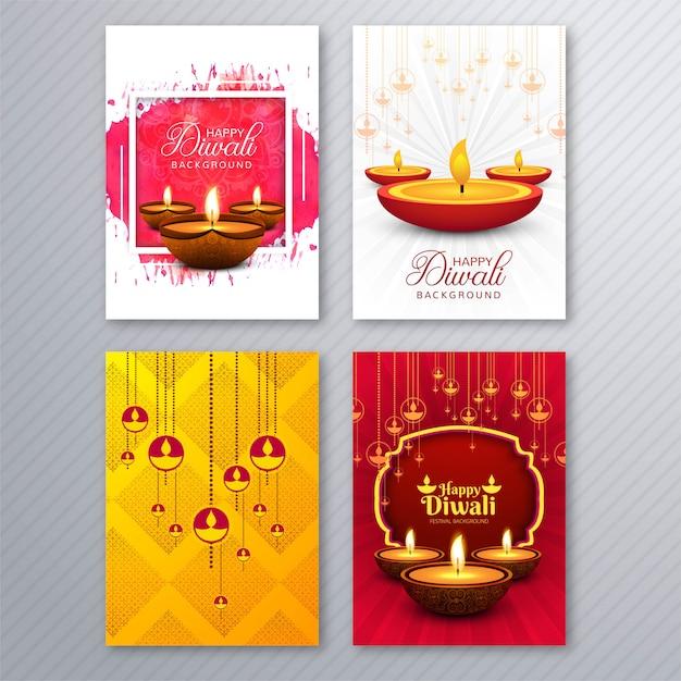 Beautiful diwali greeting card template brochure set design Premium Vector