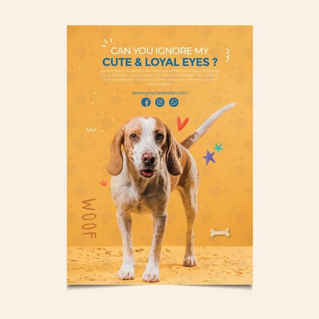 아름다운 개가 애완 동물 포스터 템플릿을 채택 무료 벡터
