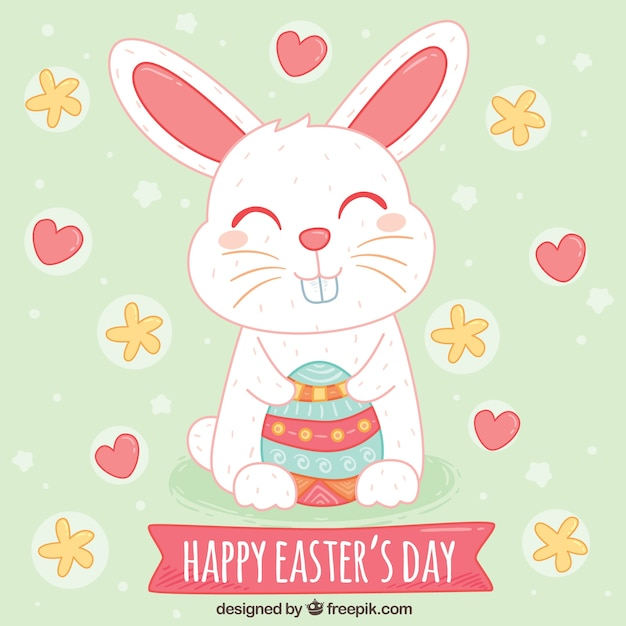 Beautiful easter background of happy\ rabbit
