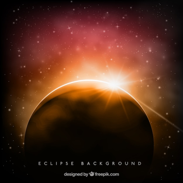 Beautiful eclipse background with sparkle Free Vector