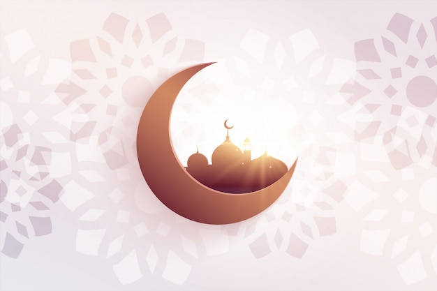Beautiful eid festival greeting with mosque and moon Free Vector