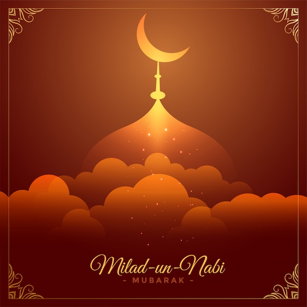 Beautiful eid milad un nabi barawafat festival card Free Vector