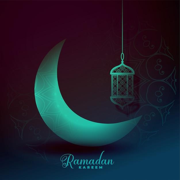 Beautiful eid moon and lantern light effect background Free Vector