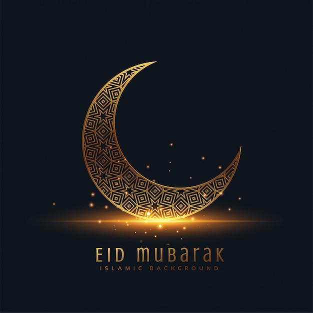 Beautiful eid mubarak golden decorative moon greeting Free Vector